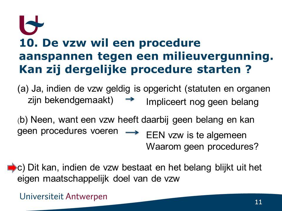 10. De vzw wil een procedure aanspannen tegen een milieuvergunning
