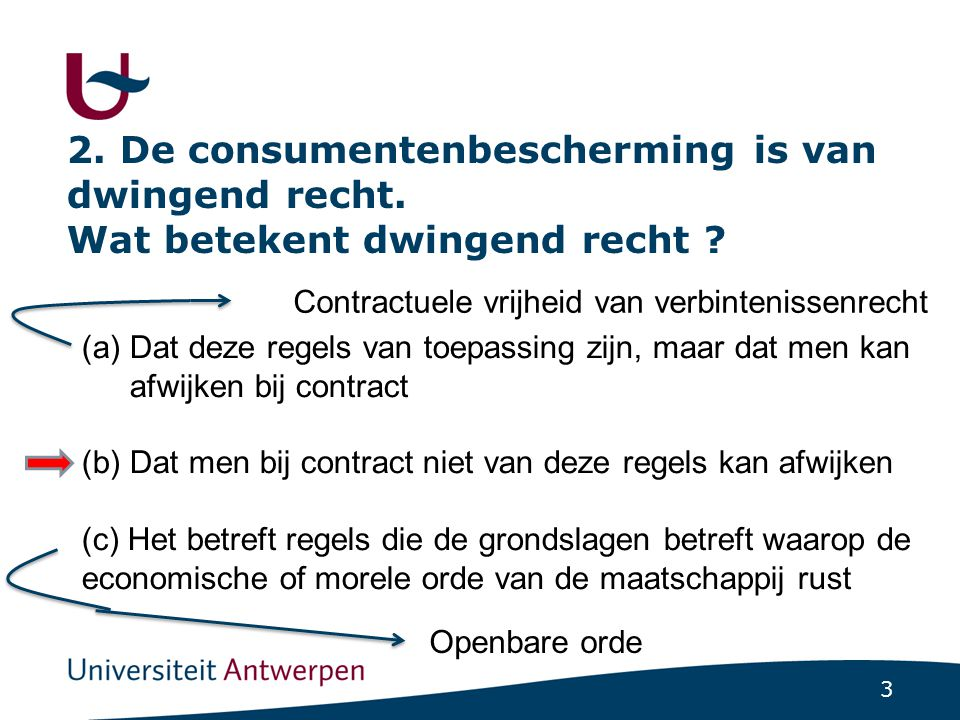 2. De consumentenbescherming is van dwingend recht