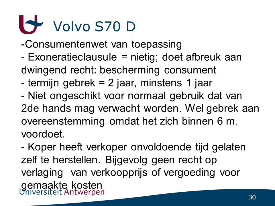 Volvo S70 D Consumentenwet van toepassing