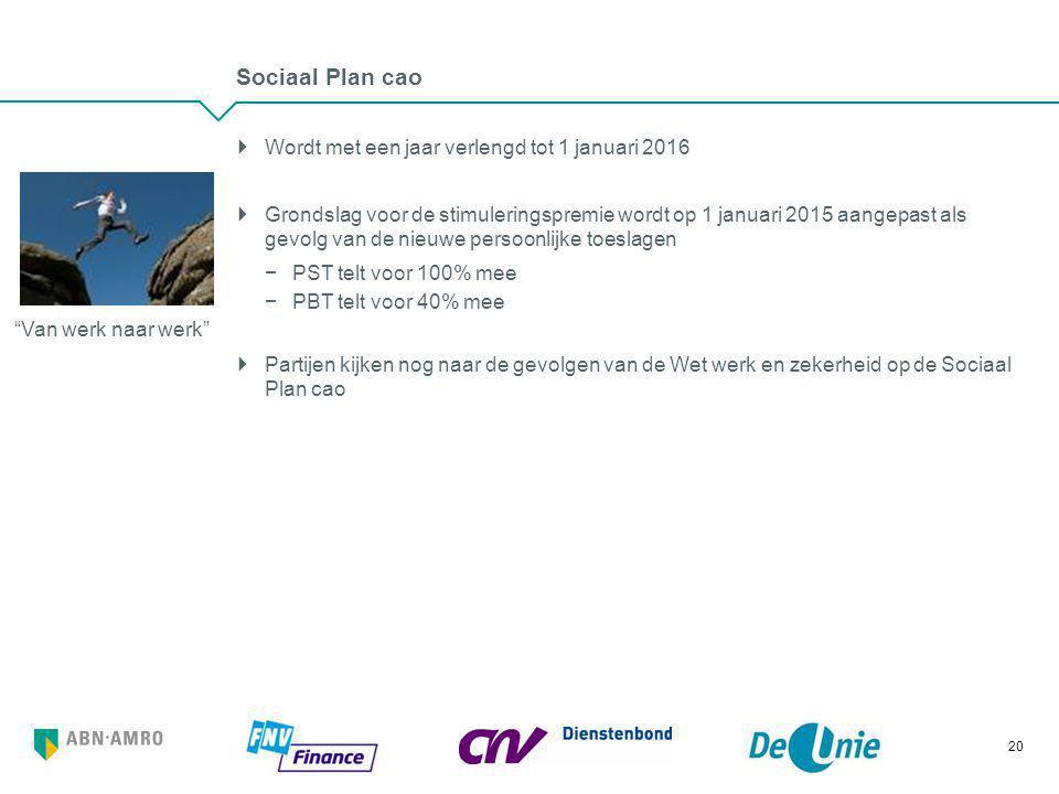 Sociaal Plan cao Wordt met een jaar verlengd tot 1 januari 2016