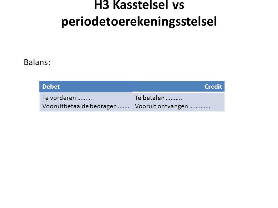 H3 Kasstelsel vs periodetoerekeningsstelsel