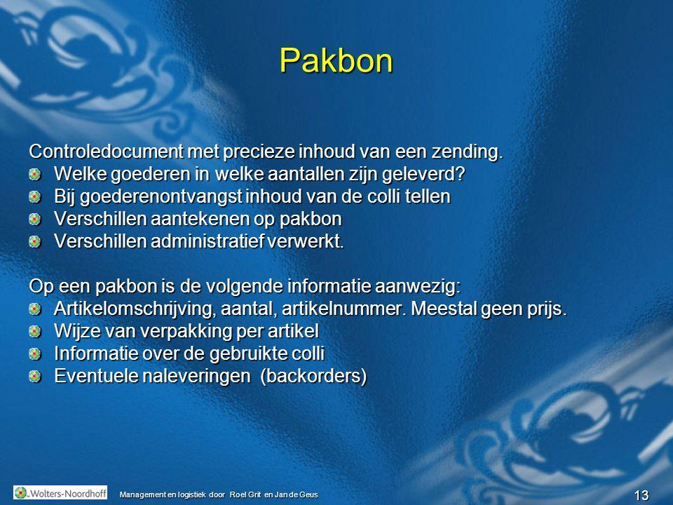 Pakbon Controledocument met precieze inhoud van een zending.