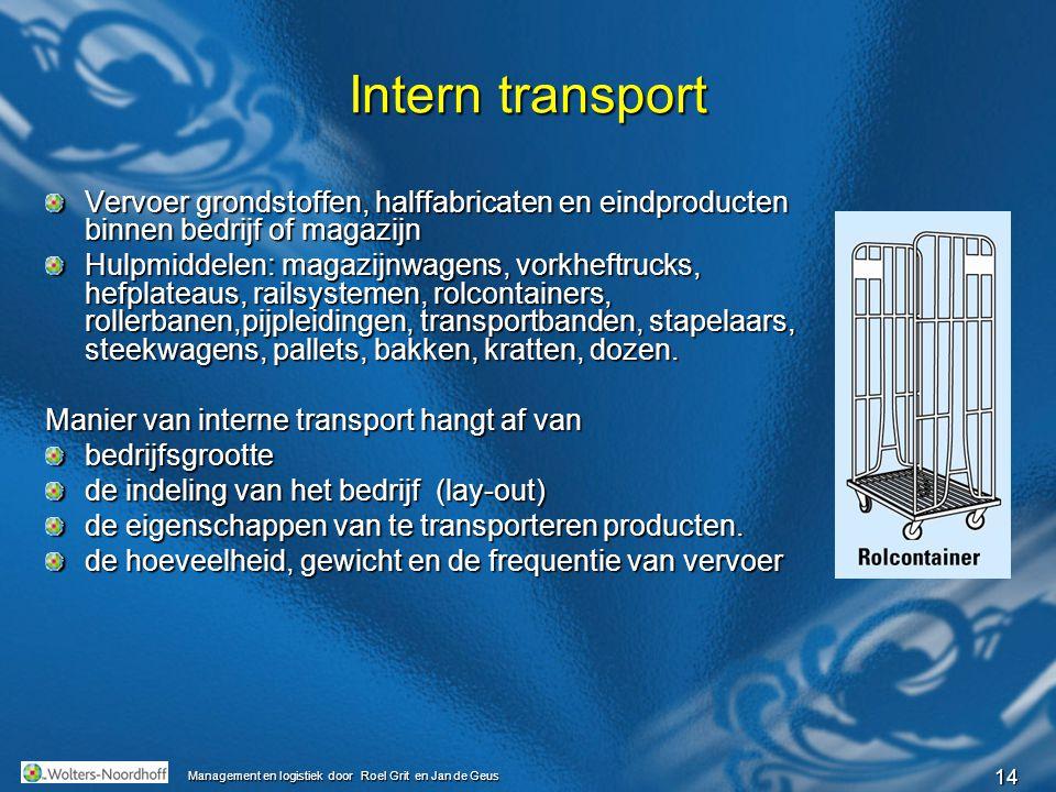 Intern transport Vervoer grondstoffen, halffabricaten en eindproducten binnen bedrijf of magazijn.