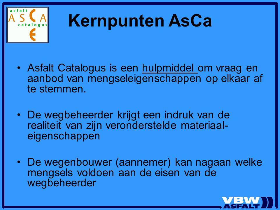 Kernpunten AsCa Asfalt Catalogus is een hulpmiddel om vraag en aanbod van mengseleigenschappen op elkaar af te stemmen.