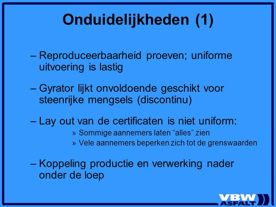 Onduidelijkheden (1) Reproduceerbaarheid proeven; uniforme uitvoering is lastig.