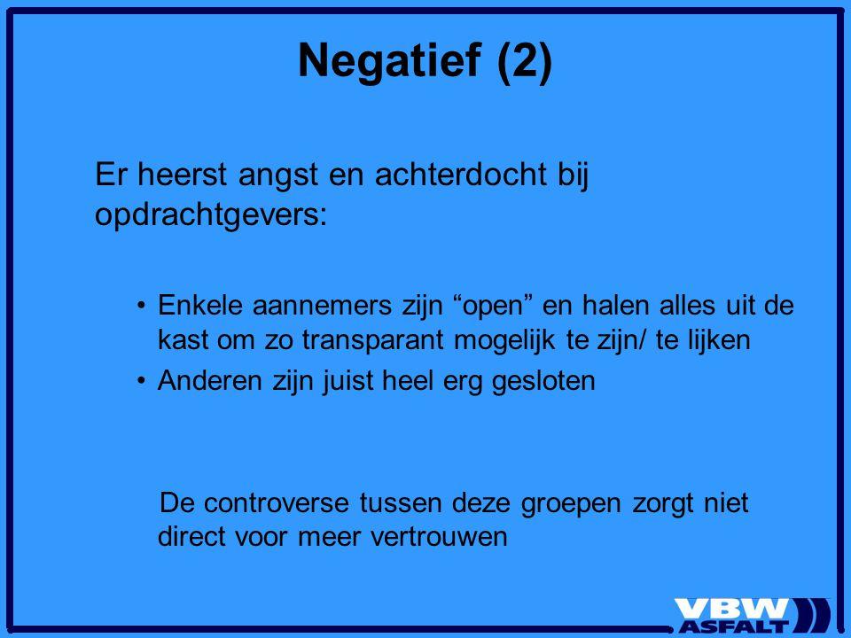 Negatief (2) Er heerst angst en achterdocht bij opdrachtgevers: