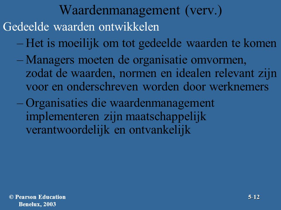 Waardenmanagement (verv.)