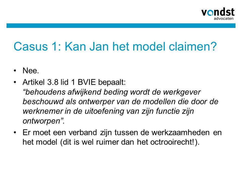 Casus 1: Kan Jan het model claimen