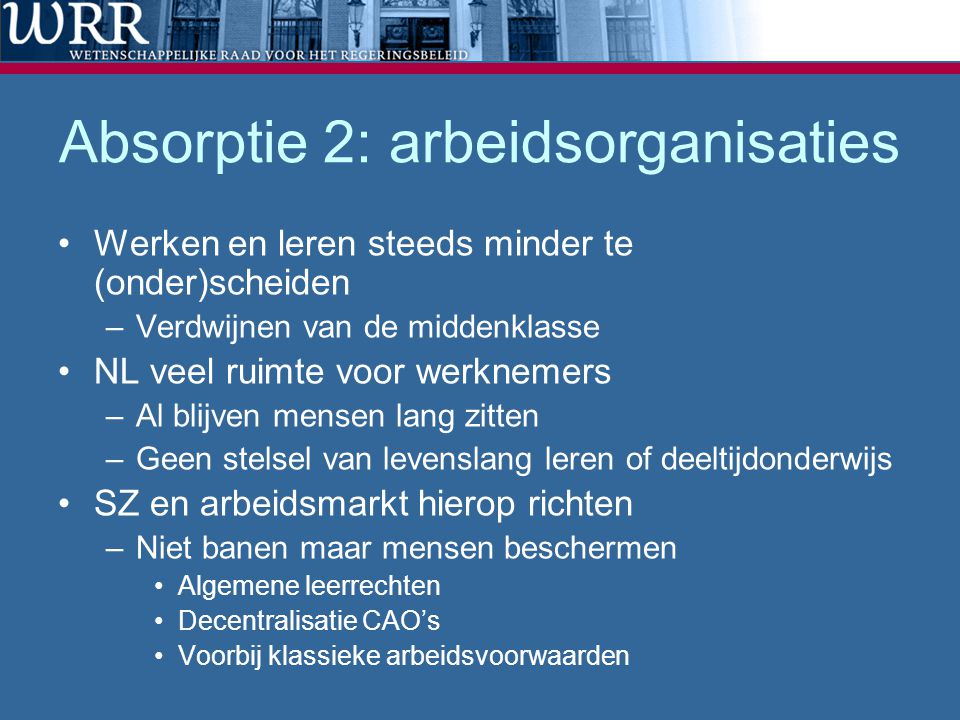 Absorptie 2: arbeidsorganisaties