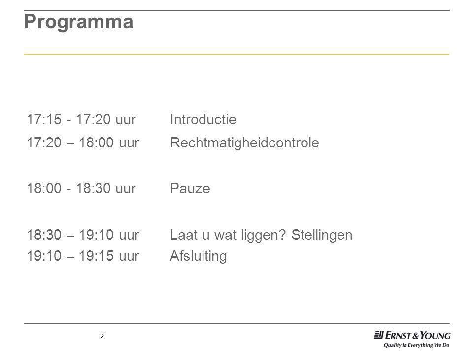 Programma 17:15 - 17:20 uur Introductie