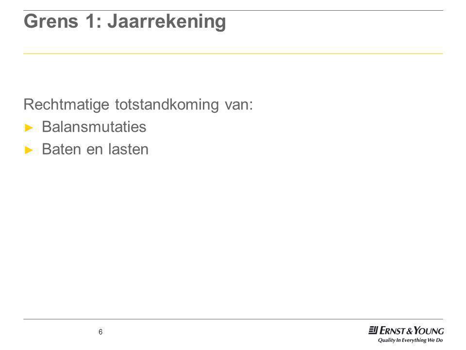 Grens 1: Jaarrekening Rechtmatige totstandkoming van: Balansmutaties