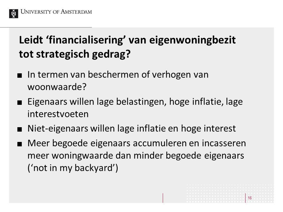 Leidt 'financialisering' van eigenwoningbezit tot strategisch gedrag