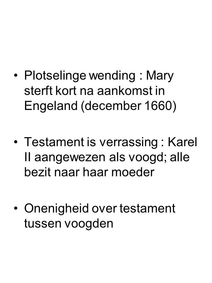 Plotselinge wending : Mary sterft kort na aankomst in Engeland (december 1660)