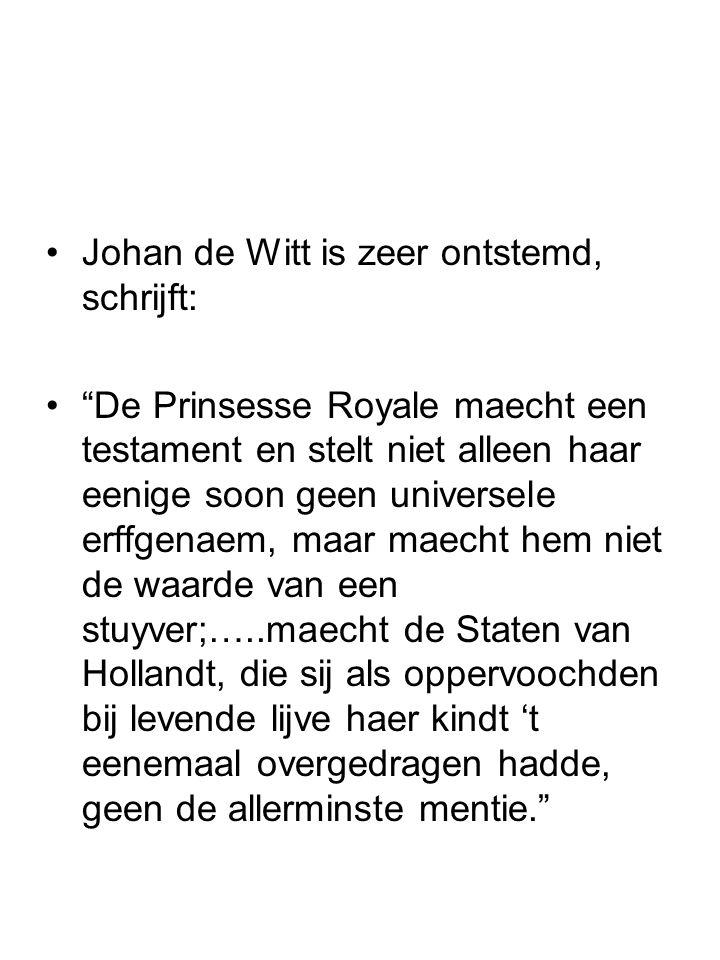 Johan de Witt is zeer ontstemd, schrijft: