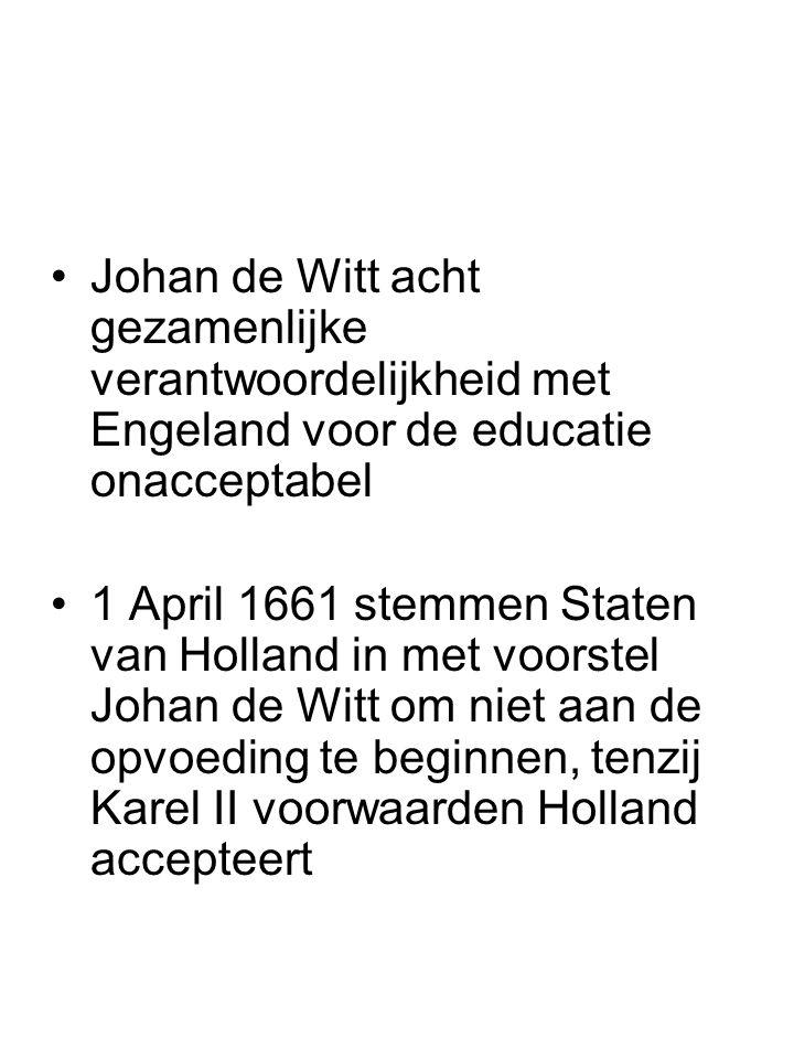 Johan de Witt acht gezamenlijke verantwoordelijkheid met Engeland voor de educatie onacceptabel