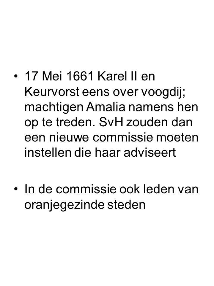 17 Mei 1661 Karel II en Keurvorst eens over voogdij; machtigen Amalia namens hen op te treden. SvH zouden dan een nieuwe commissie moeten instellen die haar adviseert