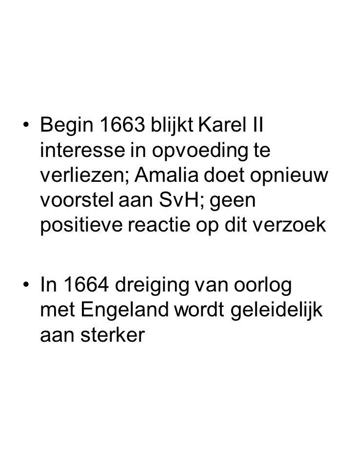 Begin 1663 blijkt Karel II interesse in opvoeding te verliezen; Amalia doet opnieuw voorstel aan SvH; geen positieve reactie op dit verzoek