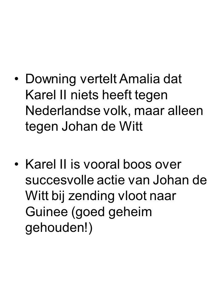 Downing vertelt Amalia dat Karel II niets heeft tegen Nederlandse volk, maar alleen tegen Johan de Witt