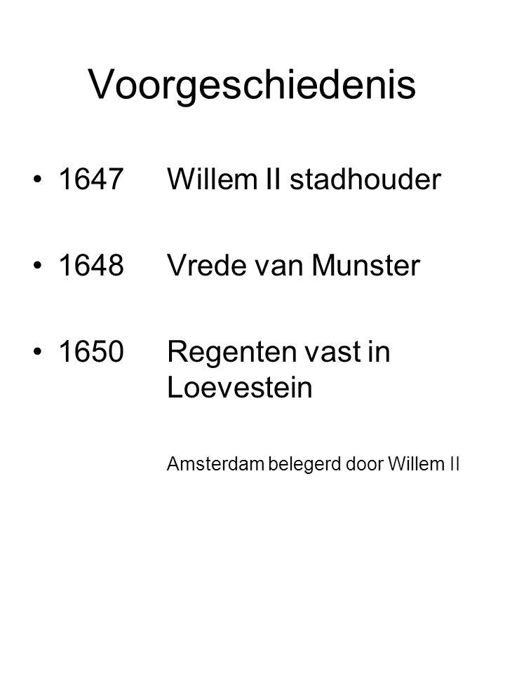 Voorgeschiedenis 1647 Willem II stadhouder 1648 Vrede van Munster