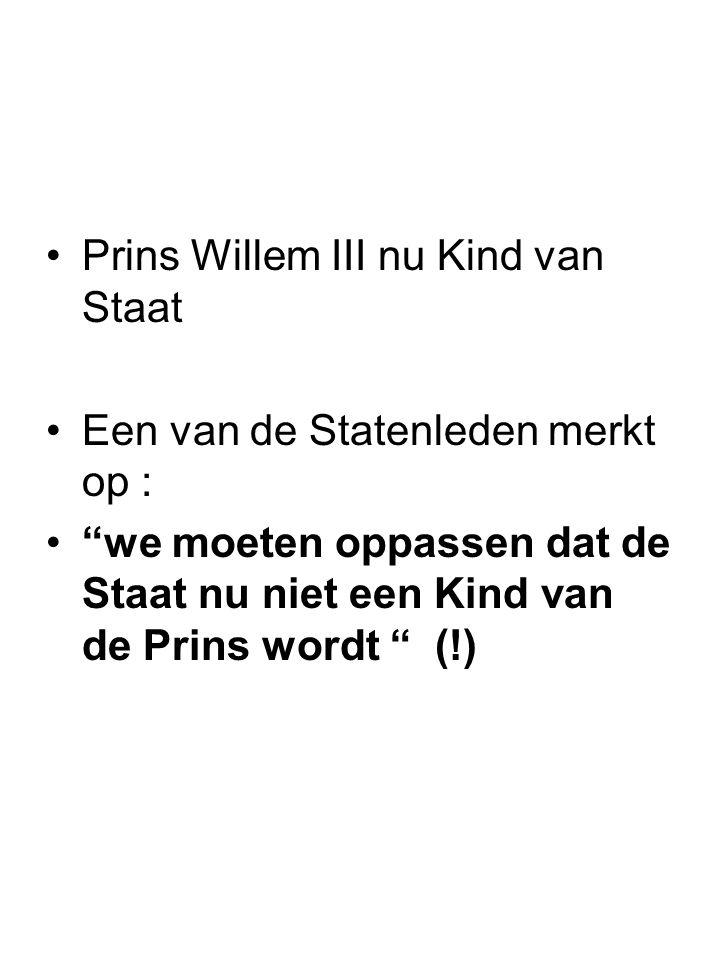 Prins Willem III nu Kind van Staat