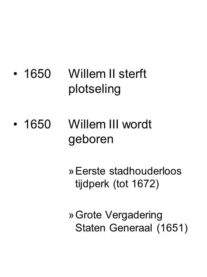 1650 Willem II sterft plotseling