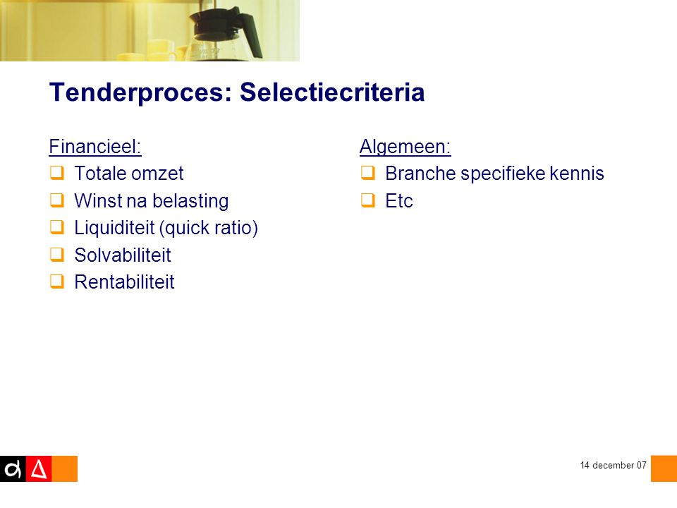 Tenderproces: Selectiecriteria