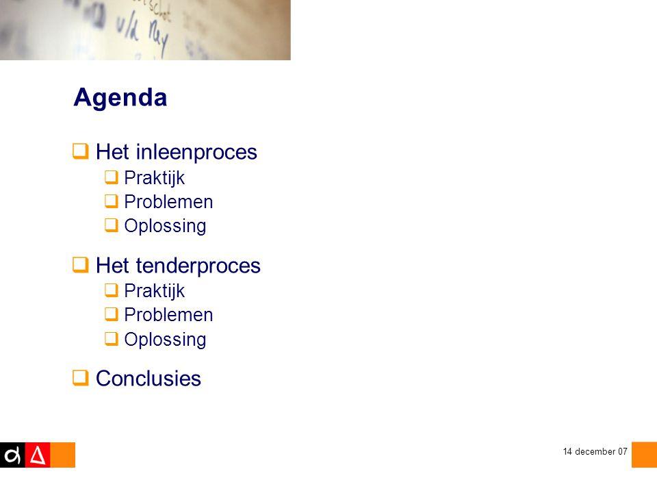 Agenda Het inleenproces Het tenderproces Conclusies Praktijk Problemen