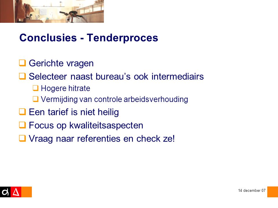 Conclusies - Tenderproces