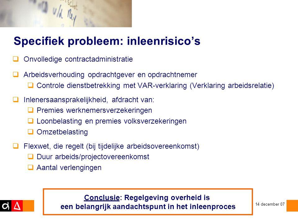 Specifiek probleem: inleenrisico's