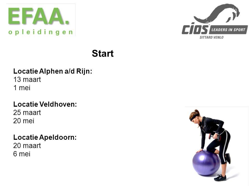 Start Locatie Alphen a/d Rijn: 13 maart 1 mei Locatie Veldhoven: