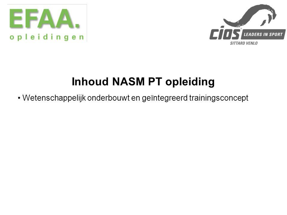 Inhoud NASM PT opleiding