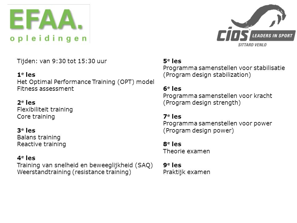 Het Optimal Performance Training (OPT) model Fitness assessment 2e les
