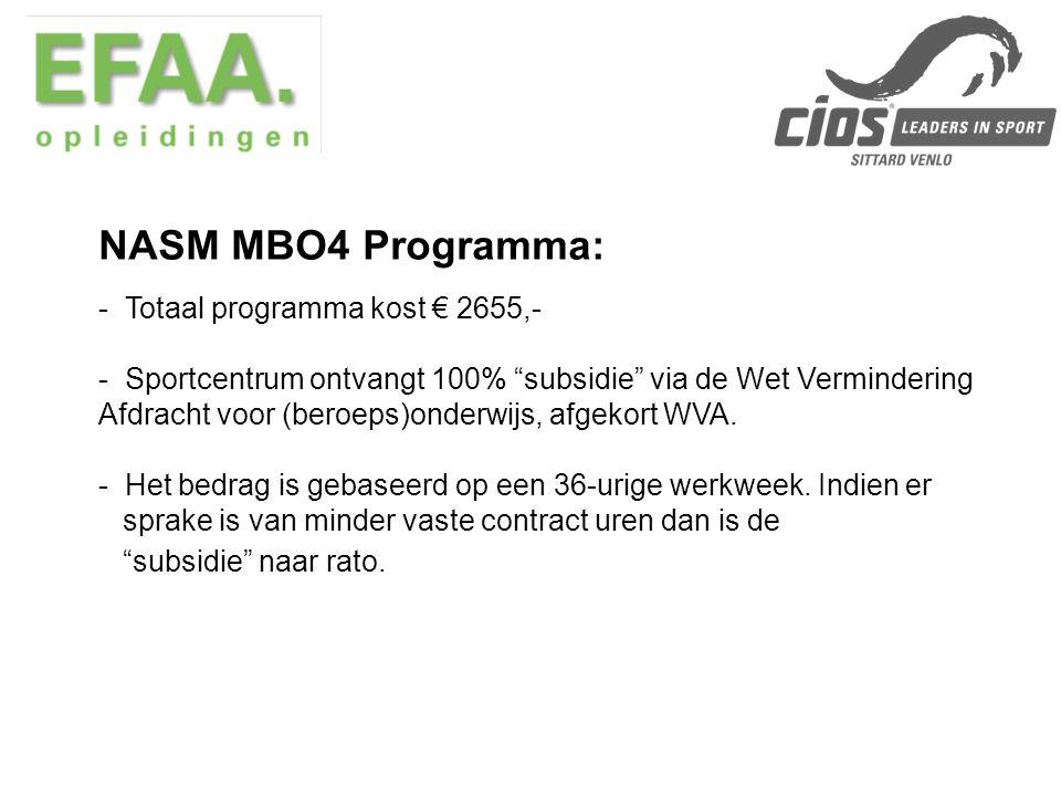 NASM MBO4 Programma: Totaal programma kost € 2655,-