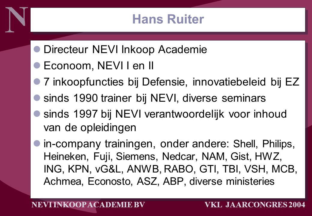 Hans Ruiter Directeur NEVI Inkoop Academie Econoom, NEVI I en II