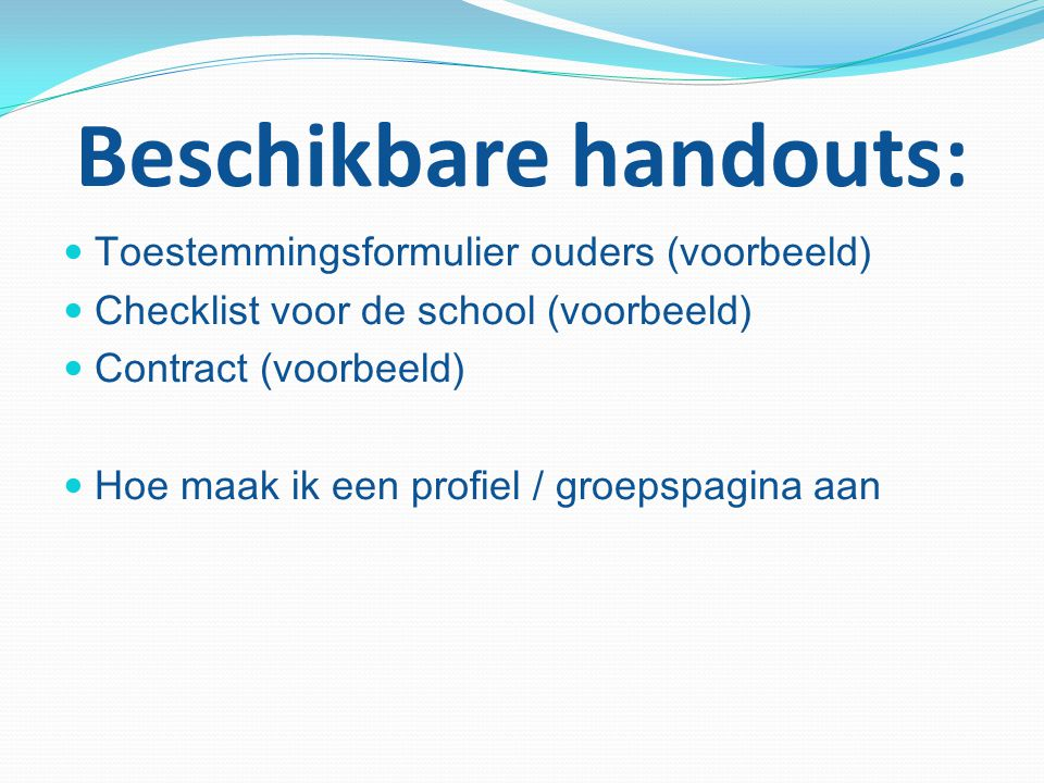 Beschikbare handouts: