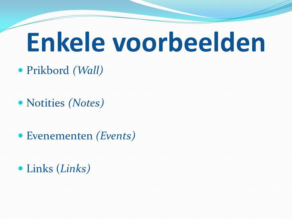 Enkele voorbeelden Prikbord (Wall) Notities (Notes)
