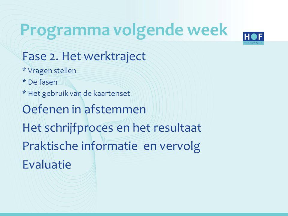 Programma volgende week