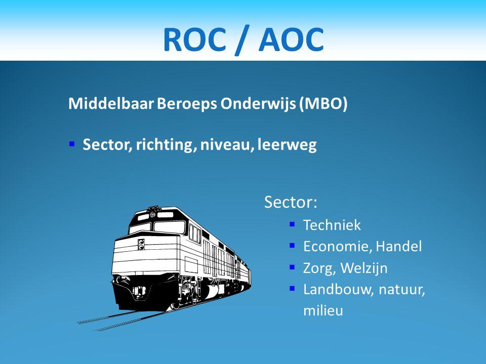 ROC / AOC Sector: Middelbaar Beroeps Onderwijs (MBO)