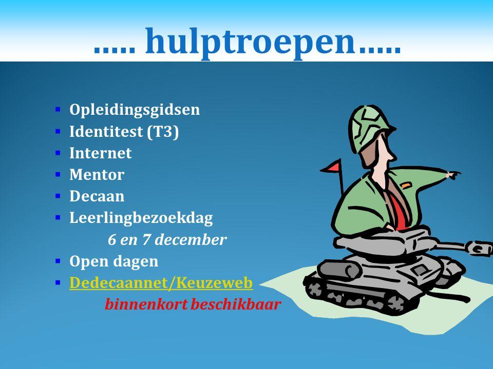 ….. hulptroepen….. Opleidingsgidsen Identitest (T3) Internet Mentor