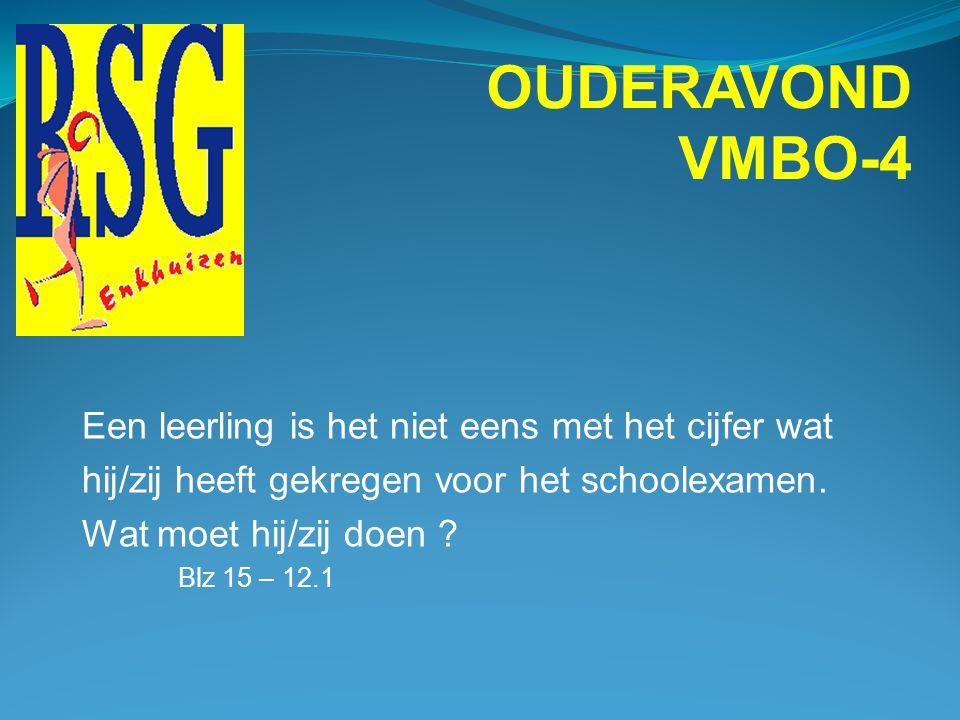 OUDERAVOND VMBO-4 Een leerling is het niet eens met het cijfer wat