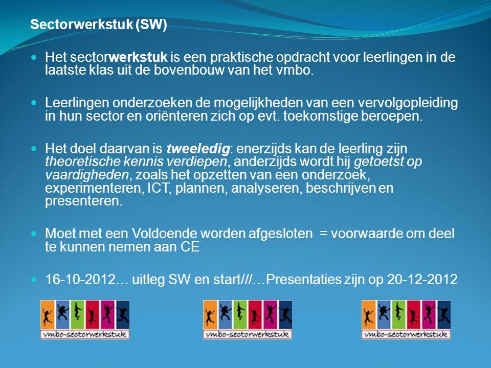 Sectorwerkstuk (SW) Het sectorwerkstuk is een praktische opdracht voor leerlingen in de laatste klas uit de bovenbouw van het vmbo.