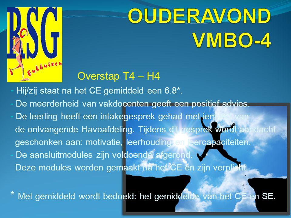 OUDERAVOND VMBO-4 Overstap T4 – H4. Hij/zij staat na het CE gemiddeld een 6.8*. De meerderheid van vakdocenten geeft een positief advies.