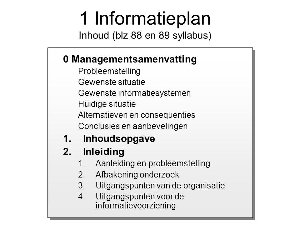 1 Informatieplan Inhoud (blz 88 en 89 syllabus)