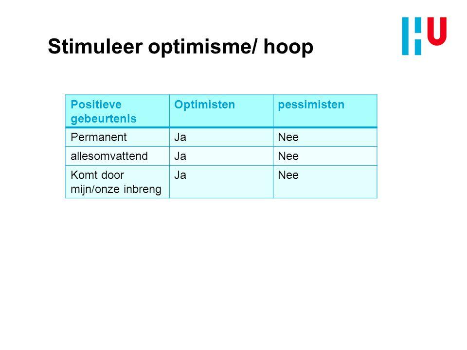 Stimuleer optimisme/ hoop