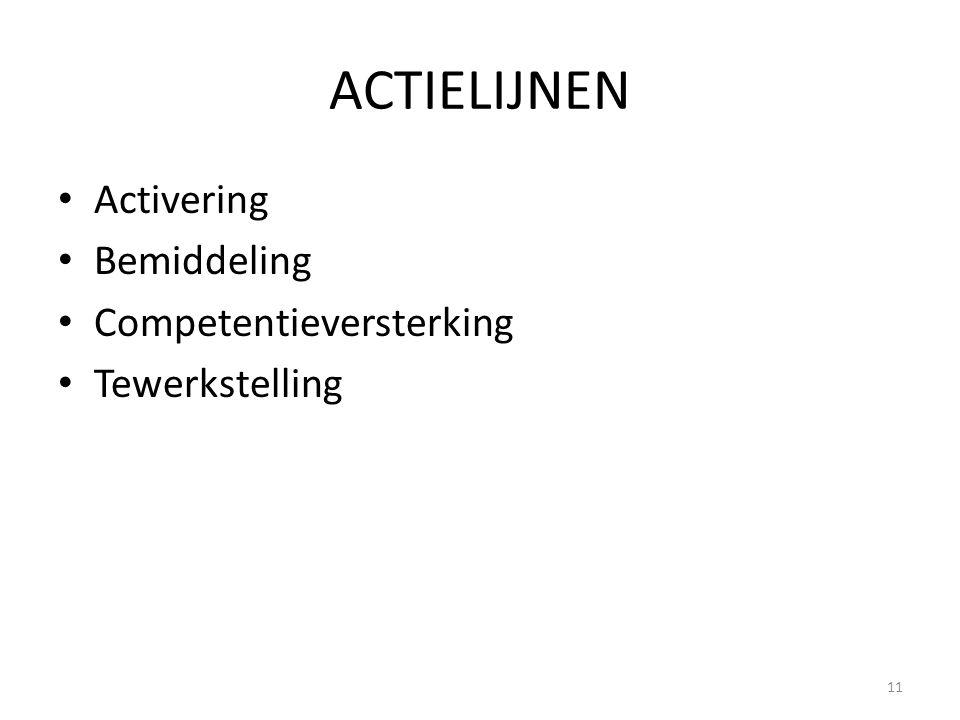 ACTIELIJNEN Activering Bemiddeling Competentieversterking