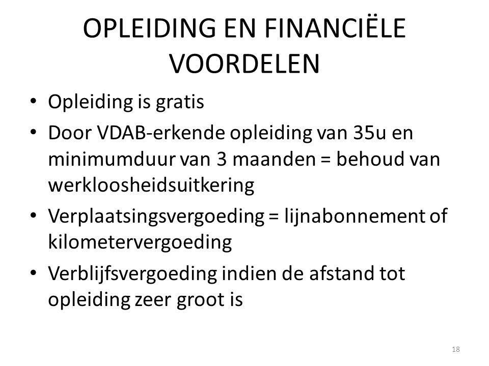 OPLEIDING EN FINANCIËLE VOORDELEN