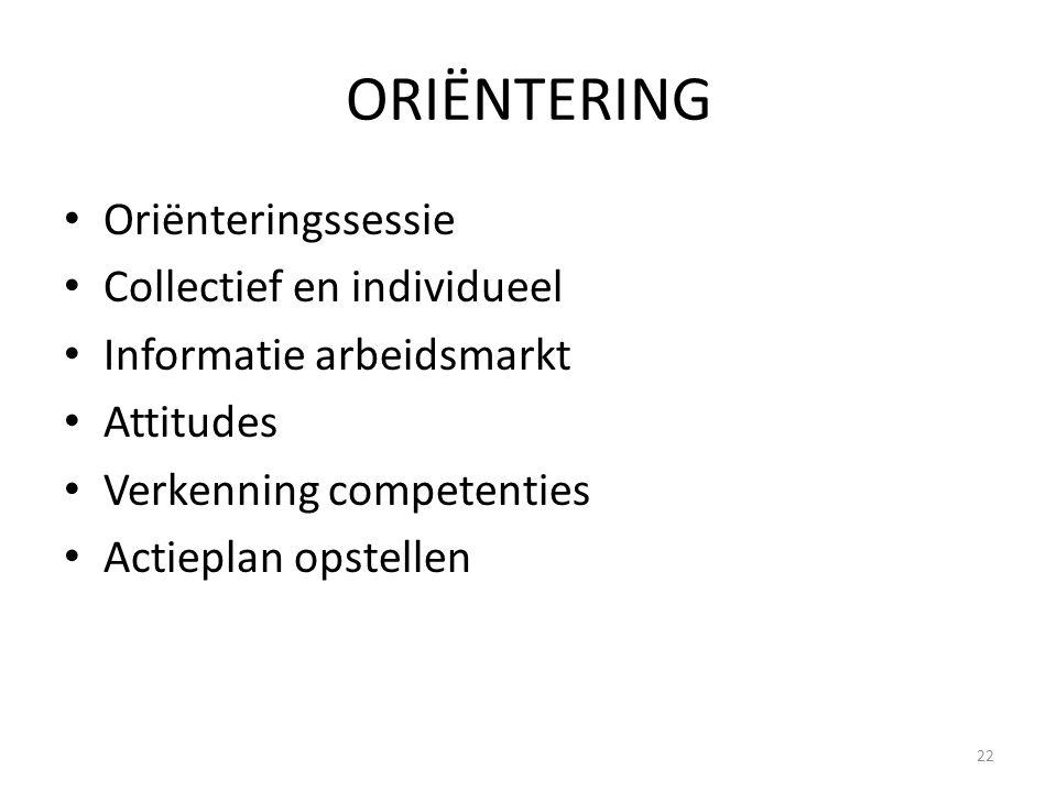 ORIËNTERING Oriënteringssessie Collectief en individueel
