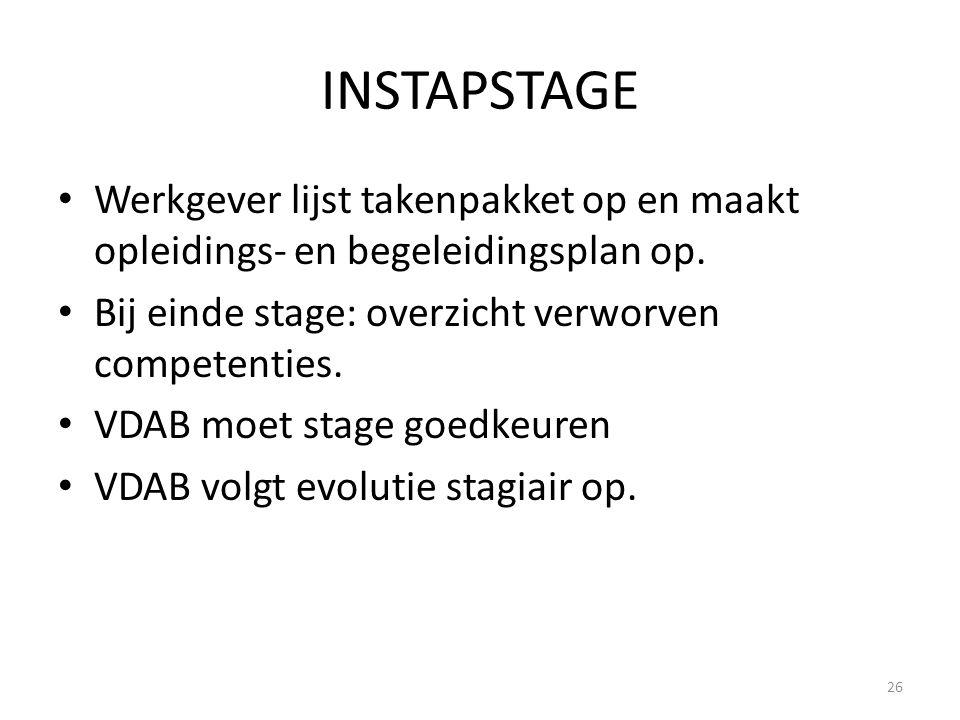 INSTAPSTAGE Werkgever lijst takenpakket op en maakt opleidings- en begeleidingsplan op. Bij einde stage: overzicht verworven competenties.