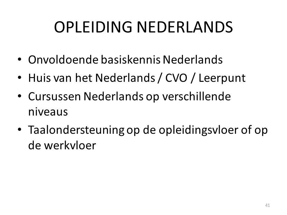 OPLEIDING NEDERLANDS Onvoldoende basiskennis Nederlands