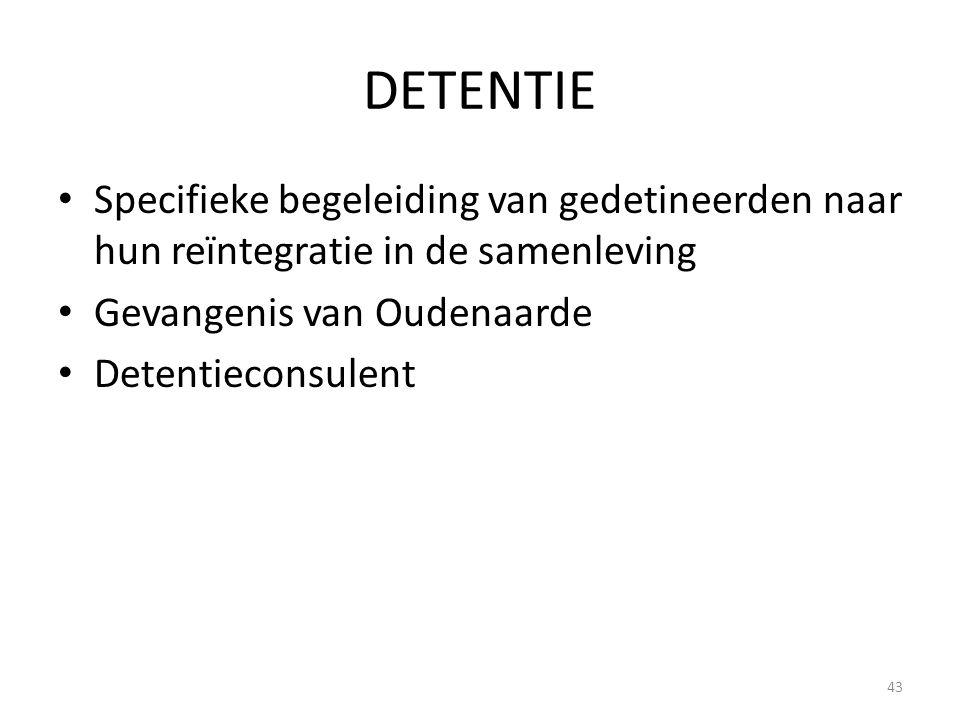 DETENTIE Specifieke begeleiding van gedetineerden naar hun reïntegratie in de samenleving. Gevangenis van Oudenaarde.